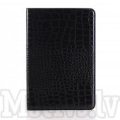 "Apple iPad mini 4 7.9"" Crocodile Leather Stand Case Cover, black - vāks apvalks pārvalks"