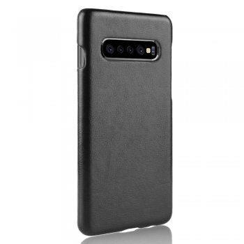 Samsung Galaxy S10+ Plus (G975F) Leather Case - Black | Telefona vāciņš, EKO āda, Melns