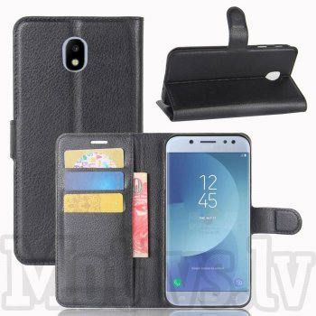 Samsung Galaxy J3 2017 SM-J330F Litchi Skin Leather Wallet Case Stand, black - vāks maks