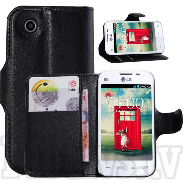 LG L40 D170 Dual SIM Litchi Grain Leather Case Cover Stand, black - vāks vāciņš, maks maciņš (CVM-739-1)  7.00